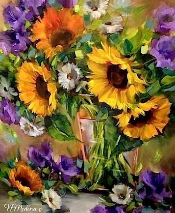 """Moonglow Sunflowers by Floral Artist Nancy Medina"" original fine art by Nancy Medina"