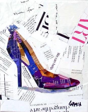 """""""Purple Shoe, Collage, 10X8"""" original fine art by Carmen Beecher"""