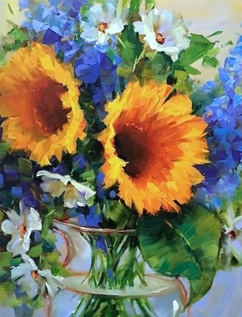 """Star Spangled Sunflowers and an Icy Gelatto Holiday Treat - Flower Paintings by Nancy Medina"" original fine art by Nancy Medina"