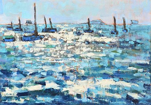 """""""Santa Barbara Beach Sailboats Painting"""" original fine art by Kevin Inman"""