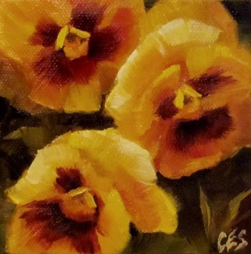 """""""Yellow Pansies"""" original fine art by ~ces~ Christine E. S. Code"""