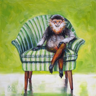 """monkey shines"" original fine art by Kimberly Applegate"