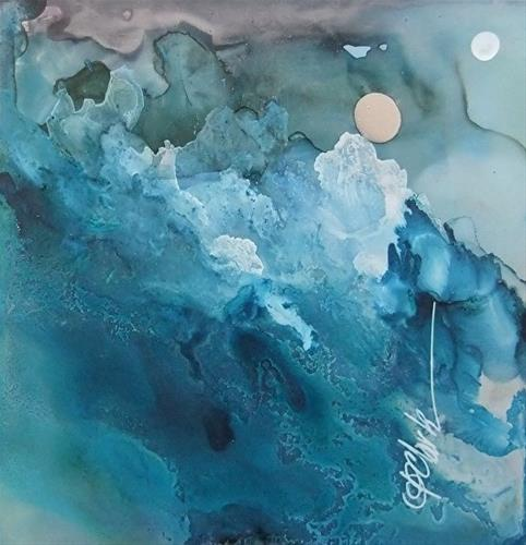 """Silver Moon, 5 x 5 Alcohol Ink, Landscape"" original fine art by Donna Pierce-Clark"