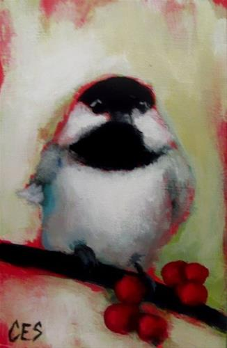 """Chickadee Cheer"" original fine art by ~ces~ Christine E. S. Code"