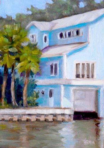 """Oil Painting, House of Blue, 5x7 Original Daily Painting"" original fine art by Carmen Beecher"