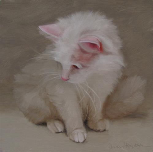 """Snow the cute senior cat and 3rd Friday at 78th ST Studios"" original fine art by Diane Hoeptner"