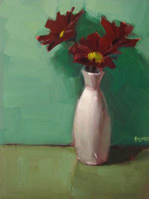 """'Maroon Flowers"" original fine art by Carol Marine"
