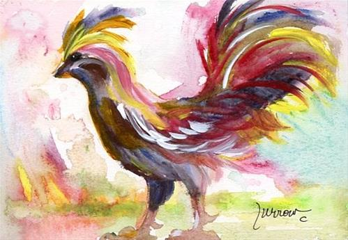 """""""NEW SHORT SERIES KEY WEST ROOSTERS"""" original fine art by Sue Furrow"""