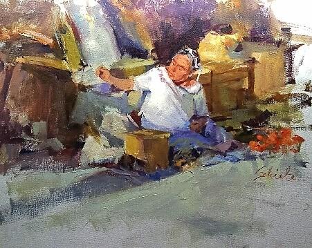 """white blouse"" original fine art by Richard Schiele"