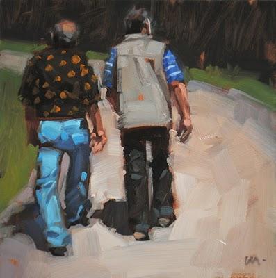 """""""Walking Off Lunch"""" original fine art by Carol Marine"""