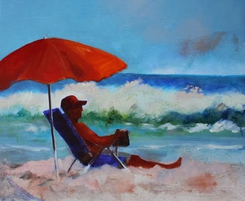 """""""Beach Day, Contemporary Figurative Paintings by Arizona Artist Amy Whitehouse"""" original fine art by Amy Whitehouse"""