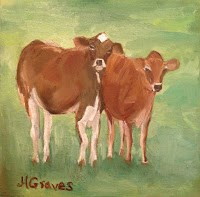 """Friendly Calves"" original fine art by J H Graves"
