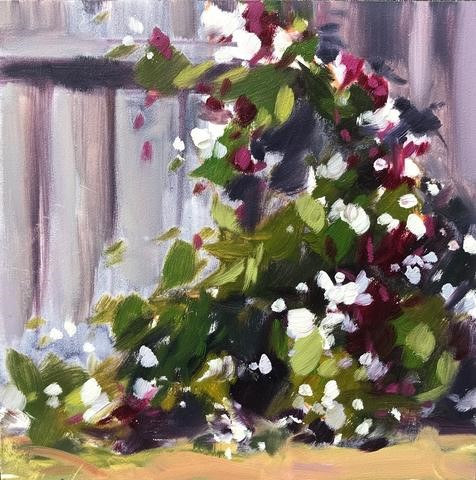 """Backyard Jasmine, Plein air oil painting"" original fine art by Sharon Schock"
