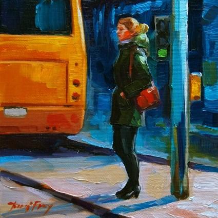 """Stuttgart, at the bus station"" original fine art by Jurij Frey"