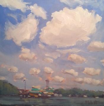 """Amusement and Water Park Boardwalk Indiana Beach Original Oil Painting"" original fine art by Heidi Malott"
