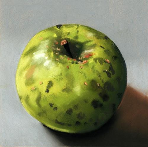 """Organic Apple 2 pastel still life painting"" original fine art by Ria Hills"