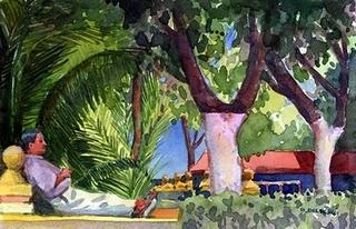 """""""Watercolor: Siesta"""" original fine art by Belinda Del Pesco"""