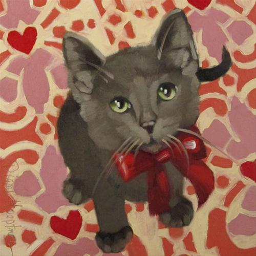 """Sweetheart valentine's day kitten painting"" original fine art by Diane Hoeptner"