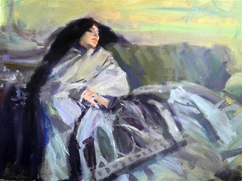 """copy of Sargent painting ''Resting''"" original fine art by Richard Schiele"