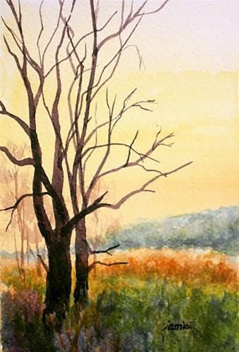 """Great Swamp with a Golden Sky"" original fine art by Jamie Williams Grossman"