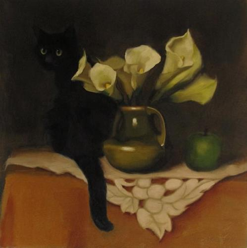 """""""Black Cat and Lilies floral still life with cat painting"""" original fine art by Diane Hoeptner"""