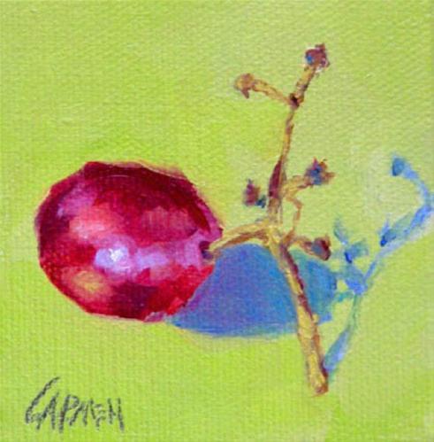 """Grape, 3x3 Oil on Canvas"" original fine art by Carmen Beecher"