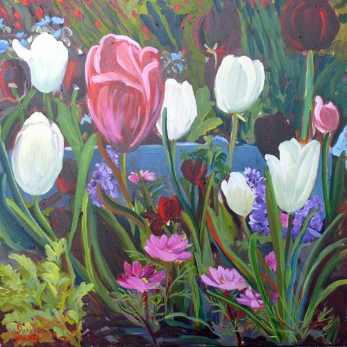 """Tulip Garden"" original fine art by Darlene Young"