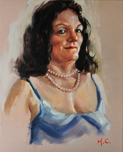 """Wear Pearl Necklace Lady"" original fine art by Michelle chen"