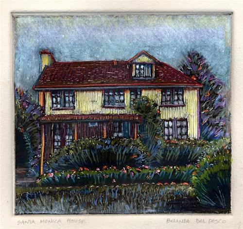 """Monotype: Santa Monica House (& fabric printing video)"" original fine art by Belinda Del Pesco"