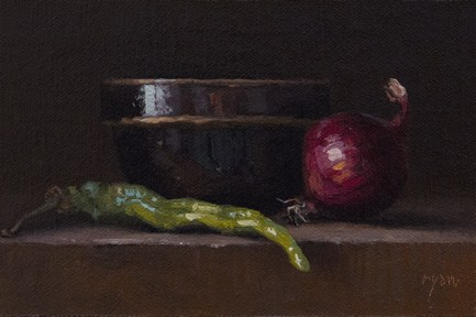 """""""Still Life with Green Pepper and Red Onion  (& Half A Million Thanks)"""" original fine art by Abbey Ryan"""