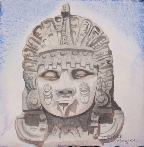 """Aztec God"" original fine art by Teresa Beyer"