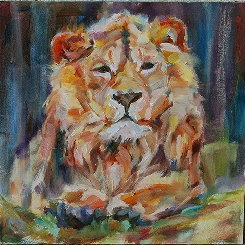 """Here, Kitty, Kitty"" original fine art by Carol DeMumbrum"