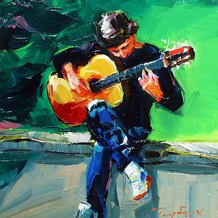 """""""Junger Musiker"""" original fine art by Jurij Frey"""