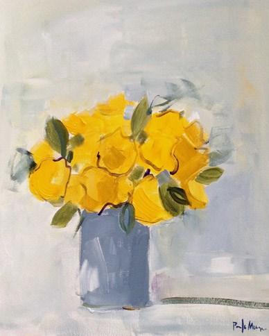"""Yellow Roses in Grey Vase"" original fine art by Pamela Munger"
