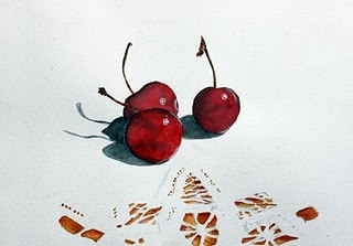 """""""Cherries and Lace"""" original fine art by Christiane Kingsley"""