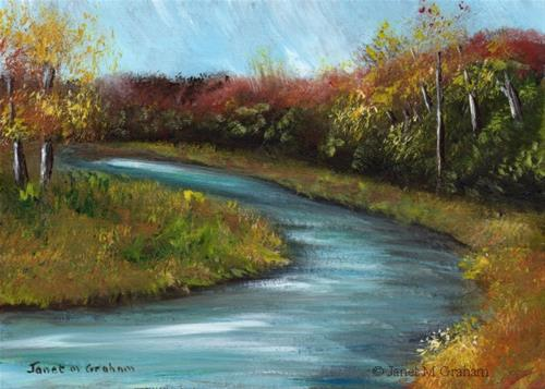 """Autumn River No 4"" original fine art by Janet Graham"