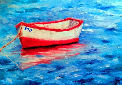 """Red and white boat"" original fine art by Barbara Janecka"