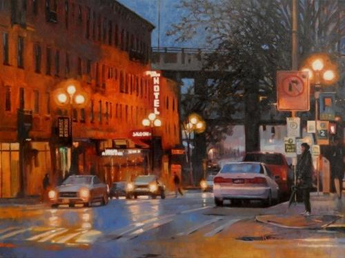 """""""Pioneer Square Hotel Seattle city, oil painting by Robin Weiss"""" original fine art by Robin Weiss"""