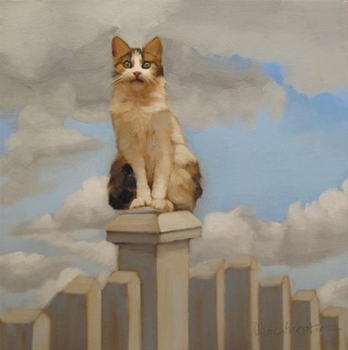 """""""Suburban Warrior story of a domesticated cat"""" original fine art by Diane Hoeptner"""