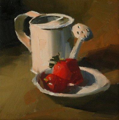 """Strawberries"" original fine art by Qiang Huang"