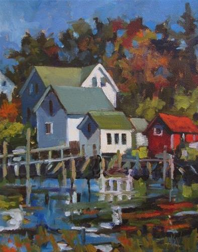 """Cozy Harbor, Maine 8x10 on stretched canvas Love the abundance of cute harbors in Maine!"" original fine art by Mary Sheehan Winn"