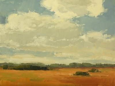 """""""Cloud Covered Marsh"""" original fine art by Laurel Daniel"""