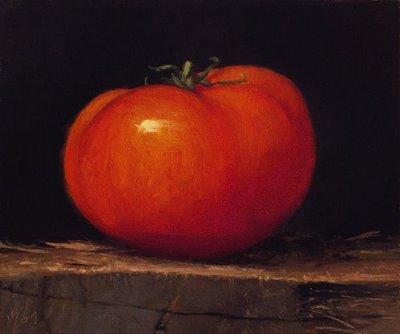 """Tomato on a Wood Block"" original fine art by Abbey Ryan"
