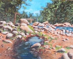 """Lake Placid Stream"" original fine art by Robert Frankis"