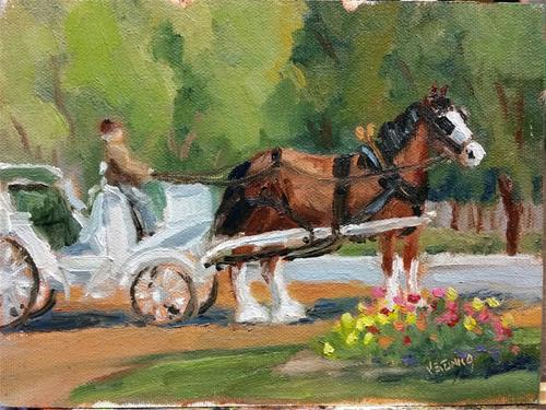 """""""Carriage Rides at Tower Grove-en plein air"""" original fine art by Veronica Brown"""