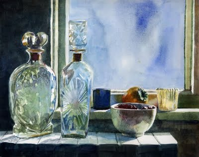 """Watercolor: Persimmon on the Sill"" original fine art by Belinda Del Pesco"