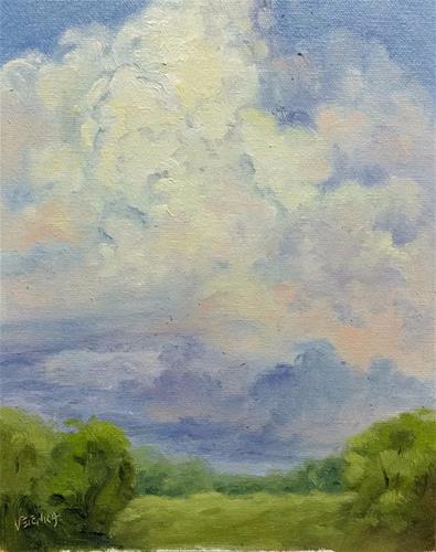 """Storm Cloud Study 1-en plein air"" original fine art by Veronica Brown"