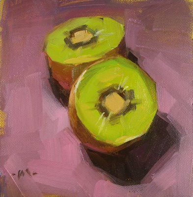 """Two Green --- SOLD"" original fine art by Carol Marine"