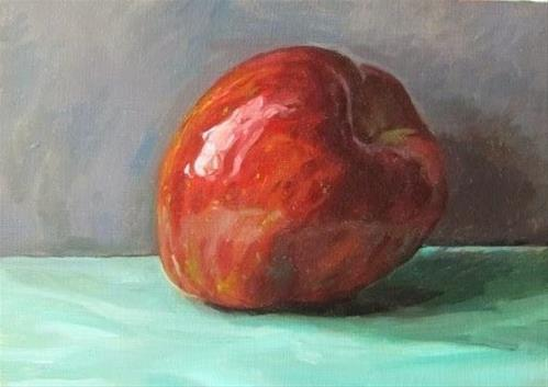 """18- Apple on Sea-foam Green"" original fine art by Ed Watson"