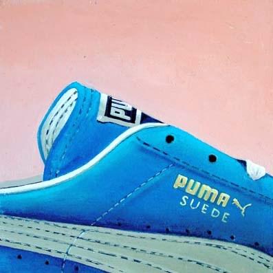 """Puma 2- Still Life Painting Of Blue Suede Sneaker"" original fine art by Gerard Boersma"
